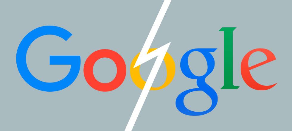 Uusi ja vanha Google-logo