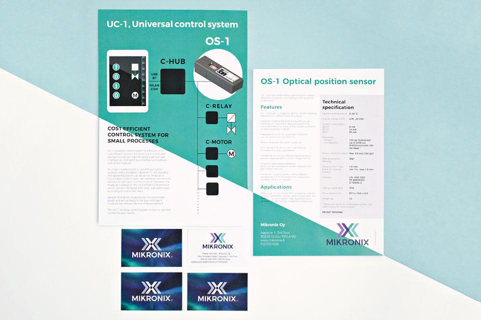 Visuaalinen ilme, logo, printti, web, Mikronix Oy:lle - Mainostoimisto IOStudio | Studio Ilpo Okkonen