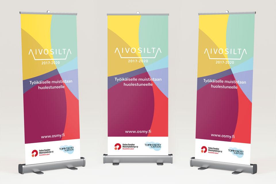 Visuaalinen ilme, logo, printti, & kuvitus Aivosilta-hankkeelle - Mainostoimisto IOStudio | Studio Ilpo Okkonen